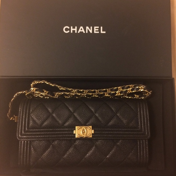 5eb182a8d57ac0 CHANEL Handbags - Black w/Gold Le Boy Chanel Wallet on Chain